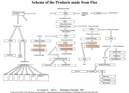 Scheme of the products made from flax