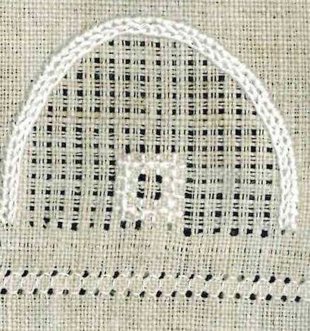 Quadrat aus 4x4 Kästchenstichen | Rose stitch square
