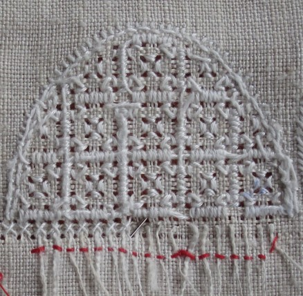 Rückseite der Kästchenstiche | back of the Four-Sided stitches
