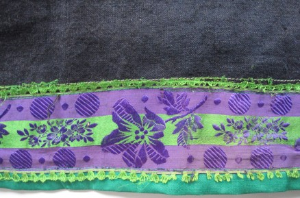 "Skirt of the green costume, trimmed with green ""Damest"" and additionally decorated with a 6 wide silk ribbon."
